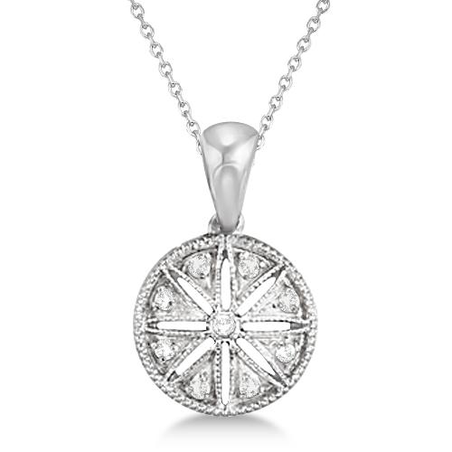 Vintage Circle Diamond Pendant Necklace Sterling Silver (0.05ct)