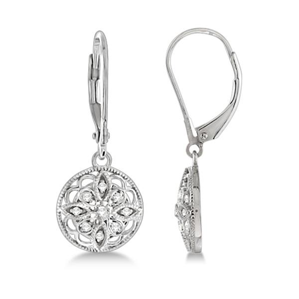 Antique Style Designer Diamond Earrings Sterling Silver (0.10ct)