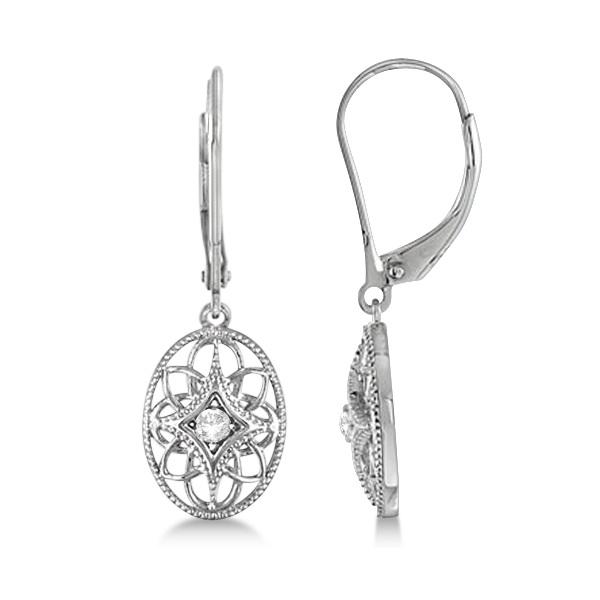 Vintage Style Designer Oval Diamond Earrings Sterling Silver (0.06ct)