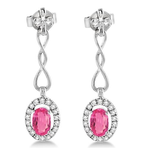 Diamond and Pink Tourmaline Drop Earrings 14K White Gold (1.25tct)