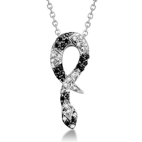 Black Spinel & Diamond Snake Pendant Necklace Sterling Silver 0.215ctw
