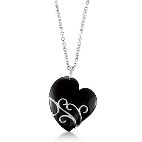Ladies Black Onyx Heart Pendant Sterling Silver Flower Design 49.02ctw