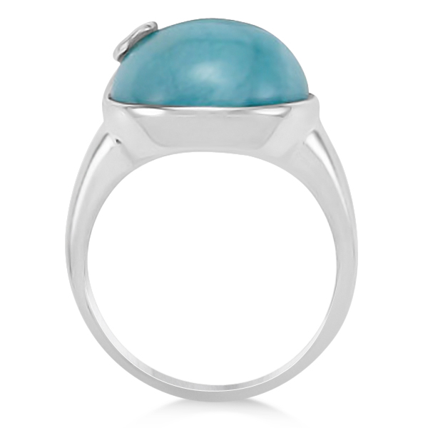 Round Larimar Gemstone Ring with Swirl Design in Sterling Silver