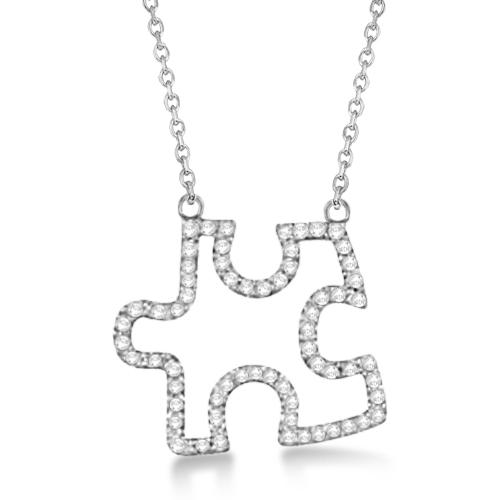 Diamond Puzzle Pendant Necklace 14k White Gold (0.33ct)