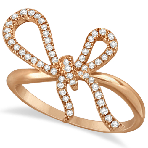bow tie ring in 14k gold pink 0 25ctw allurez