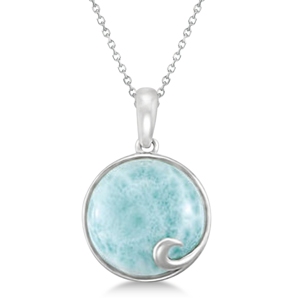 Round genuine larimar pendant necklace 14mm gemstone sterling silver round genuine larimar pendant necklace 14mm gemstone sterling silver aloadofball Image collections