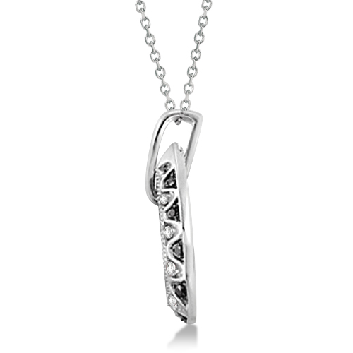 Black & White Diamond Pear Shaped Necklace in 14K White Gold 0.50ctw