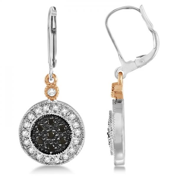 White and Black Diamond Circle Earrings 14K Two-Tone Gold 0.38ctw