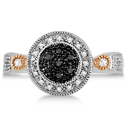 White & Fancy Black Diamond Halo Ring in Two-Tone 14K Gold 0.25ctw