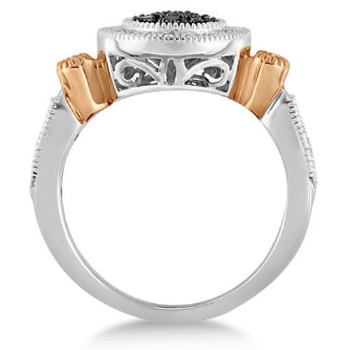 White & Fancy Black Diamond Halo Ring in Two-Tone 14K Gold 0.25ctw