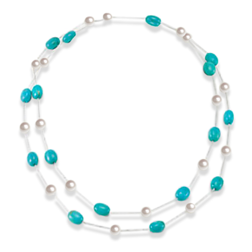 Turquoise & Round White Freshwater Pearl Strand Sterling Silver 8mm