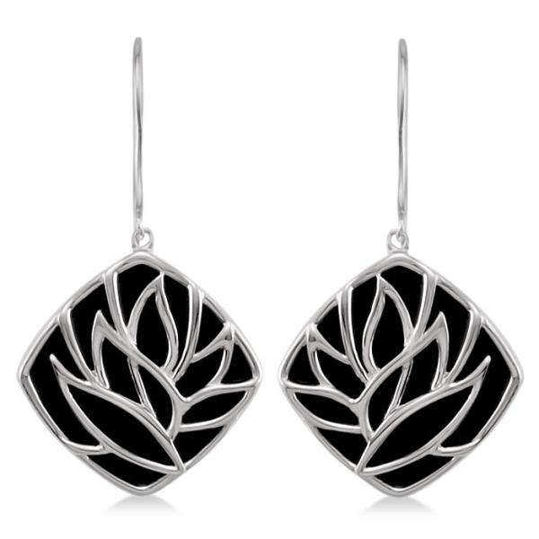 Square Black Onyx Earrings Floral Design Sterling Silver 8.84ctw