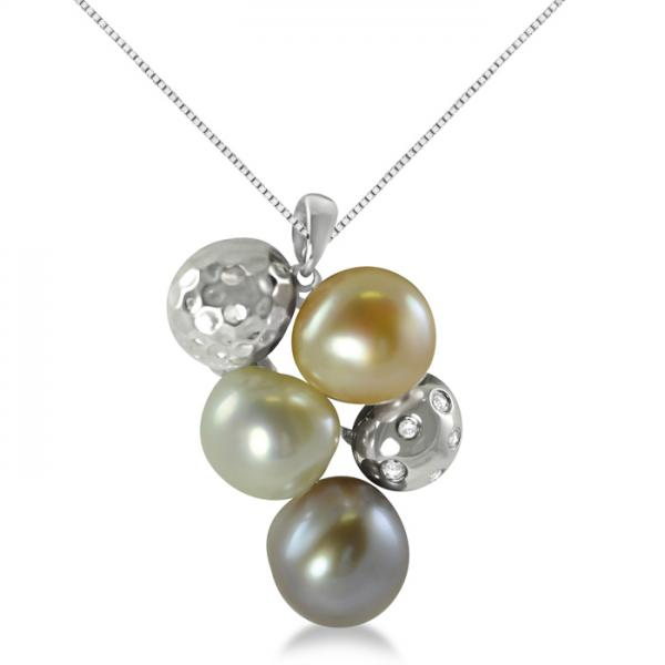 White Topaz & Freshwater Cultured Pearl Pendant Sterling Silver 9-10mm
