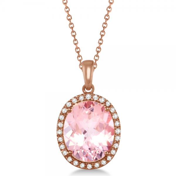 Oval Halo Diamond &Morganite Pendant Necklace 14K Rose Gold (3.95ct)