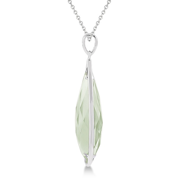 Pear Shaped Green Quartz Pendant Necklace Sterling Silver (30x10mm)