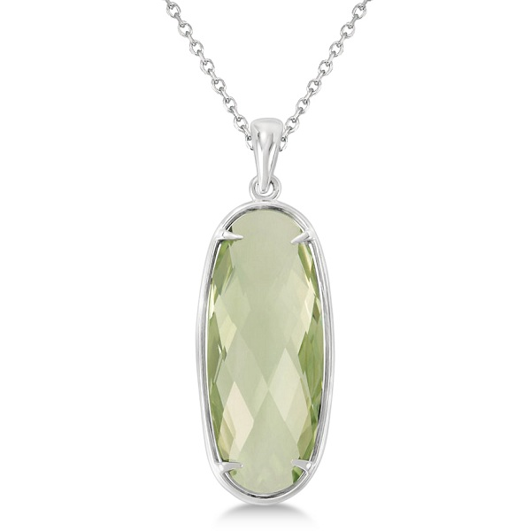 Oval Green Quartz Pendant Necklace Sterling Silver (25x10mm)