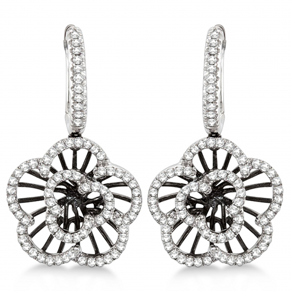 Dangle Flower Diamond Earrings 14kt White Gold (0.62ct)