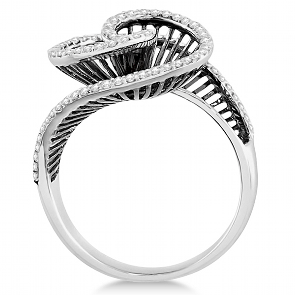 Cocktail Swirl Diamond Ring with Black Rhodium 14kt White Gold (0.50ct)