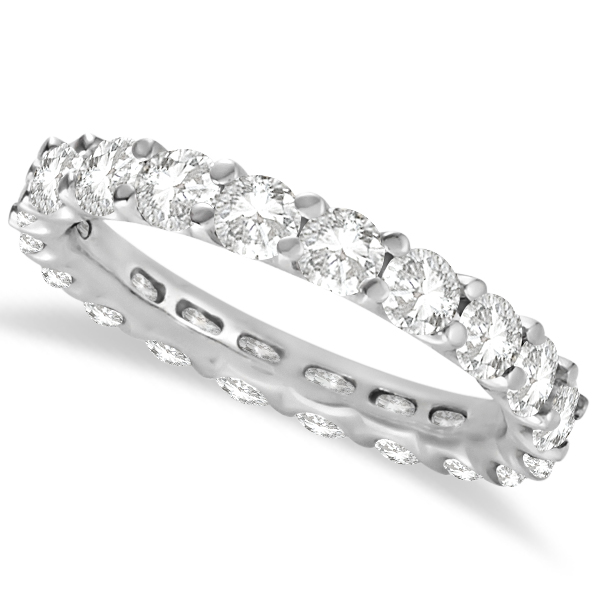 Round Moissanite Eternity Ring Anniversary Band 14K White Gold 3.00ctw