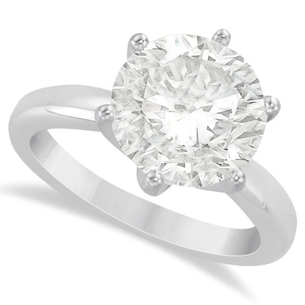 Round Solitaire Moissanite Engagement Ring 14K White Gold 4.00ctw