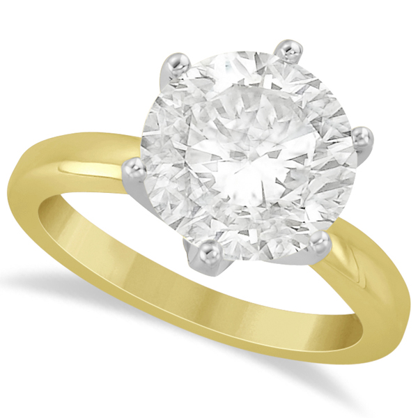 Round Solitaire Moissanite Engagement Ring 14K Yellow Gold 4.00ctw