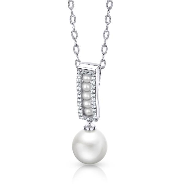 Freshwater & Seed Pearl Pendant Necklace w/ Topaz Sterling Silver