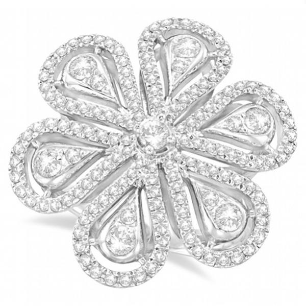 Cocktail Diamond Floral Ring 14kt White Gold (1.04ct)