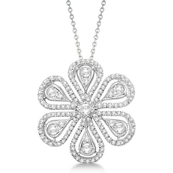 Diamond Flower Pendant Necklace 14k White Gold (1.04ct)