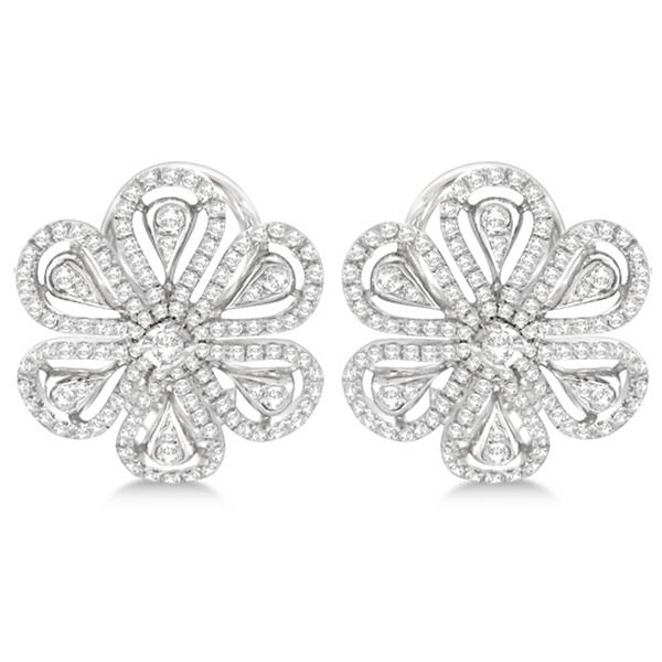 Designer Flower Diamond Earrings 14kt White Gold (1.22ct)