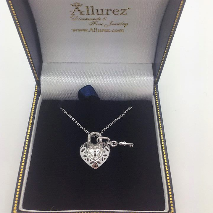 Diamond Heart Key and Lock Pendant Necklace Sterling Silver (0.16ct)