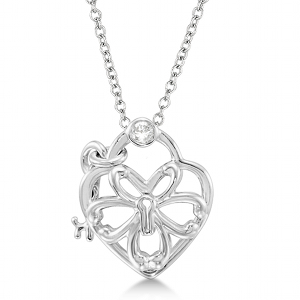 Diamond Heart Lock and Key Pendant Necklace Sterling Silver (0.05ct)
