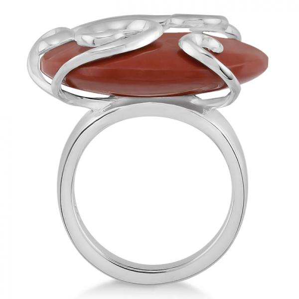 Red Tiger Eye Cocktail Ring in Sterling Silver Scroll Design 33.71ctw