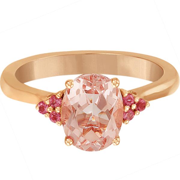 Floral Pink Tourmaline & Morganite Ring in 14k Rose Gold (1.98ct)