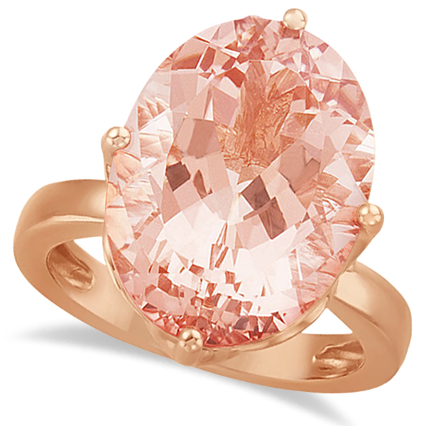 Solitaire Style Oval Morganite Ring 14k Rose Gold (12.14ct)