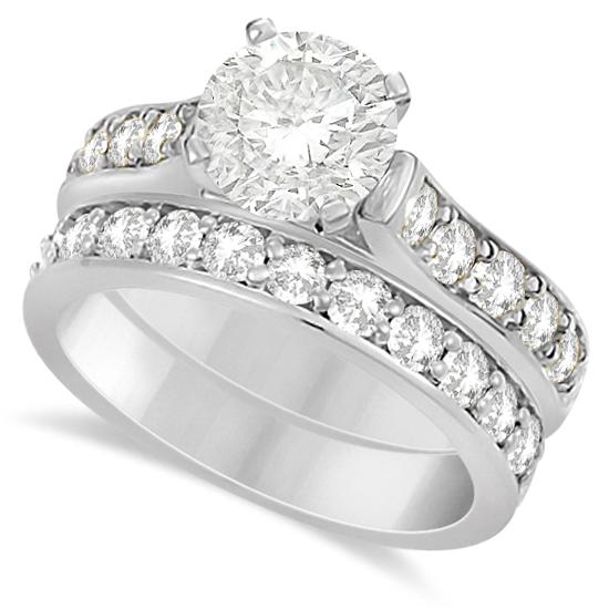 Moissanite Engagement Ring & Wedding Band Set 14K W. Gold 2.25ctw