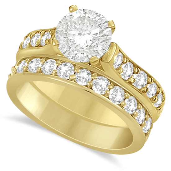 Moissanite Engagement Ring & Wedding Band Set 14K Y. Gold 2.25ctw