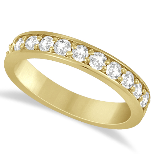 Semi Eternity Moissanite Wedding Ring Band 14K Yellow Gold 0.65ctw