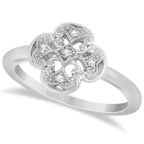Floral Clover Diamond Ring in Sterling Silver (0.03tct)
