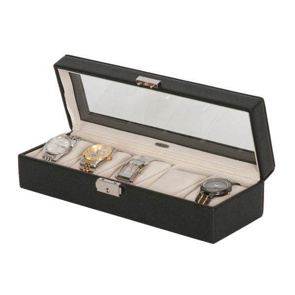 Men's Glass Top Watch Box in Textured Black Faux Leather