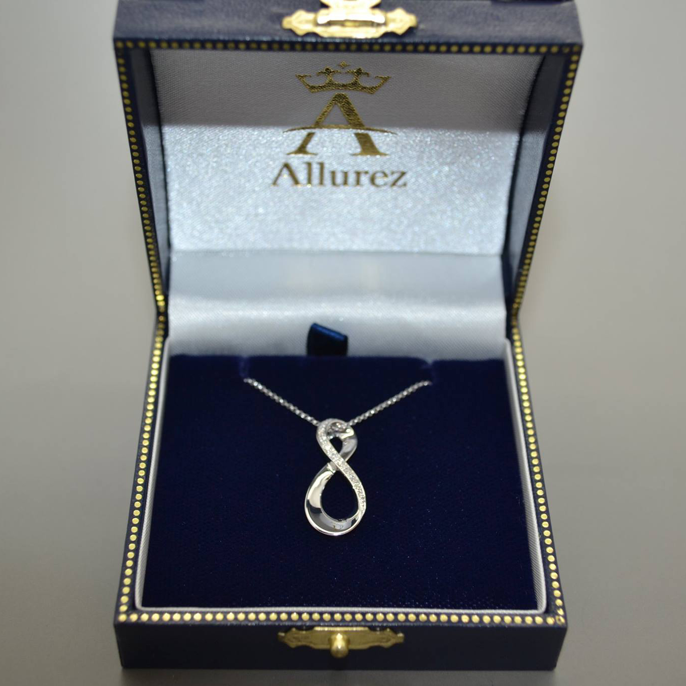 Infinity Diamond Pendant with 18 Inch Chain 14K White Gold 0.05ctw