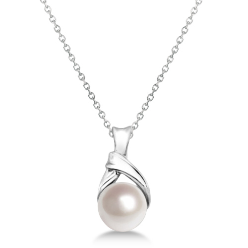 Akoya Cultured Pearl Necklace 14K White Gold Knot Design (6mm)