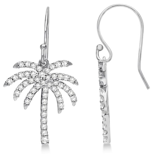 Dangle Diamond Palm Tree Earrings 14K White Gold (0.50ct)