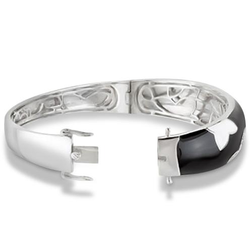 Black & White Enamel Diamond Star Bracelet in Sterling Silver 0.13ctw