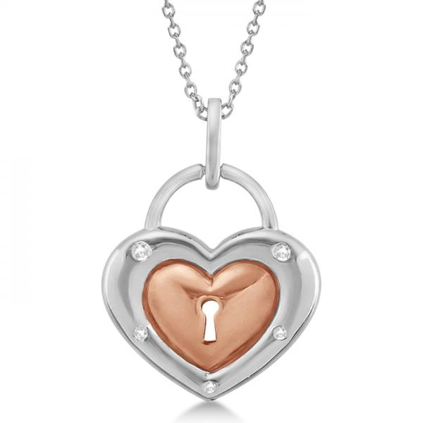 Diamond Heart Lock Necklace Rose Gold over Sterling Silver (0.05ct)