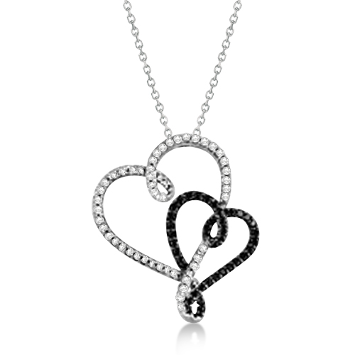 White and Black Diamond Double Heart Pendant in 14K White Gold 0.52ctw