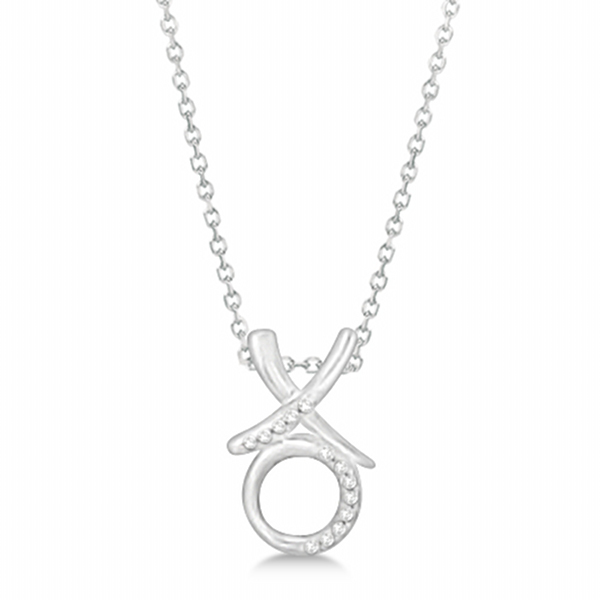 Diamond Hugs and Kisses Pendant Necklace Sterling Silver (0.10ct)