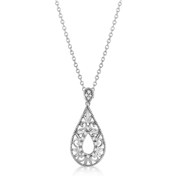 Diamond Teardrop Design Pendant Necklace .925 Sterling Silver 0.10ct