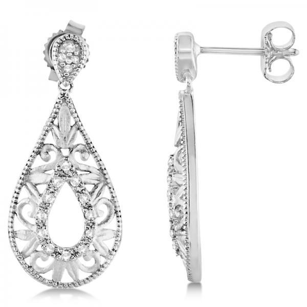 Antique Style Diamond Teardrop Design Earrings Sterling Silver 0.10ct