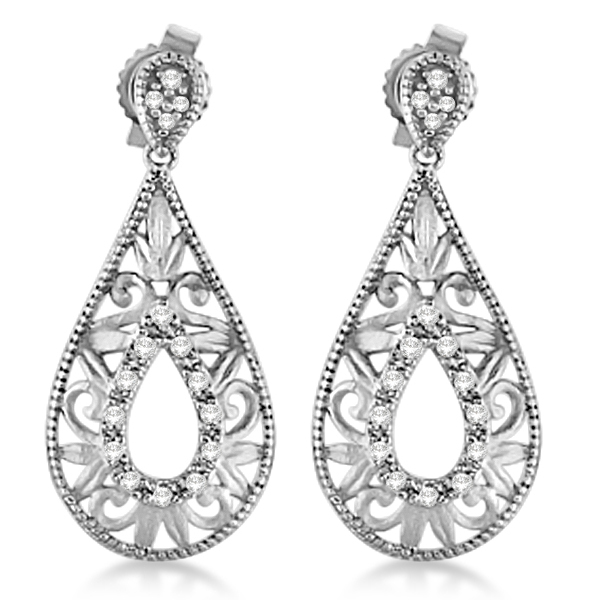 Antique Style Diamond Teardrop Design Earrings Sterling Silver 0.10ct