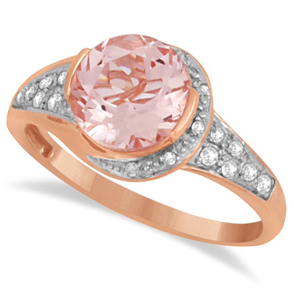 Cocktail Diamond and Morganite Ring in 14k Rose Gold (2.04ct)